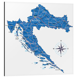 Aluminium print  Map of Croatia