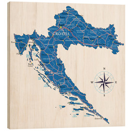 Wood print  Map of Croatia