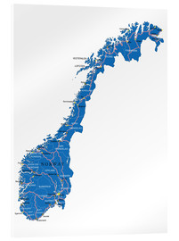 Acrylic glass  Map Norway