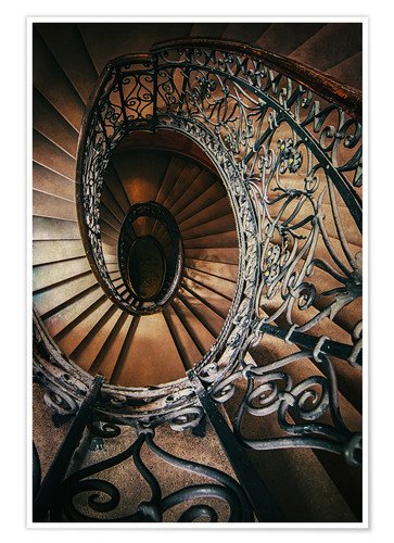 Premium poster Spiral staircase with ornamented handrail