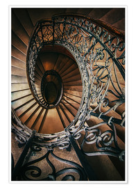 Premium poster  Spiral staircase with ornamented handrail - Jaroslaw Blaminsky