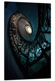 Alu-Dibond  Spiral staircase in blue and beige colors - Jaroslaw Blaminsky