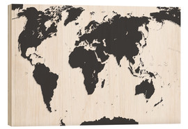 Wood print  Relief World Map
