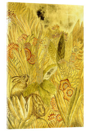 Acrylic print  Rabbits and Flowers - Jean Dunand