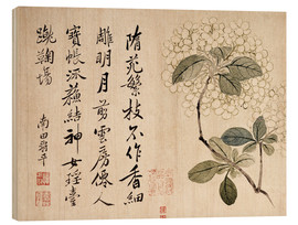 Wood print  Hydrangeas - Yun Shouping