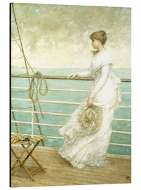 Aluminium print  Lady on the Deck of a Ship - French School