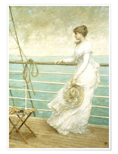 Premium poster Lady on the Deck of a Ship