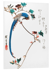 Foam board print  Blue magpie on maple branch - Utagawa Hiroshige