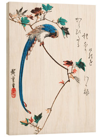 Wood print  Blue Magpie on Maple Branch - Utagawa Hiroshige