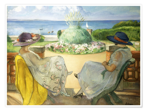 Premium poster Two Young Women on a Terrace by the Sea