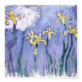 Premium poster  Yellow Iris with Pink Cloud - Claude Monet