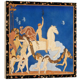 Wood print  The white horse - Georges Barbier