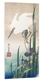 Foam board print  White heron and iris - Utagawa Hiroshige
