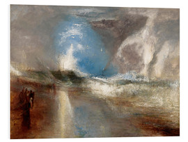 Foam board print  Rockets and blue lights warn steamboats before shallows - Joseph Mallord William Turner