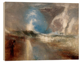 Wood print  Rockets and blue lights warn steamboats before shallows - Joseph Mallord William Turner