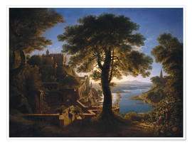Premium poster  Castle on the River - Karl Friedrich Schinkel