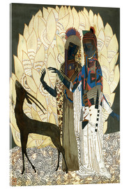 Acrylic glass  Two stylized women with an antelope and foliage - Jean Dunand