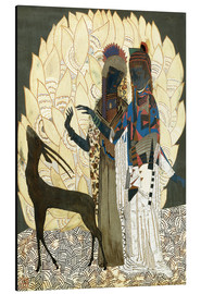 Aluminium print  Two stylized women with an antelope and foliage - Jean Dunand