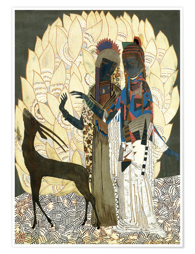 Premium poster Two stylized women with an antelope and foliage