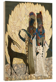 Wood print  Two stylized women with an antelope and foliage - Jean Dunand