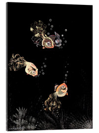 Acrylic print  Underwater scene with red and golden fish - Jean Dunand