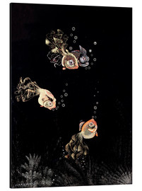 Aluminium print  Underwater scene with red and golden fish - Jean Dunand