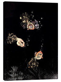 Canvas print  Underwater scene with red and golden fish - Jean Dunand