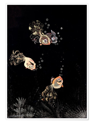 Premium poster Underwater scene with red and golden fish