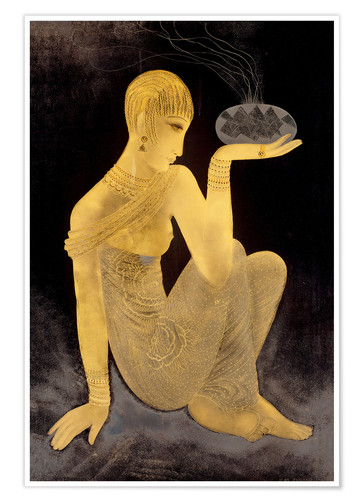 Premium poster Perfume girl with a censer