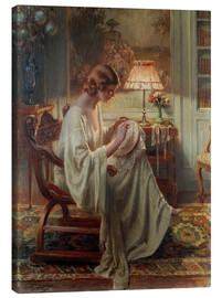Canvas print  A Lady Sewing in an Interior - Delphin Enjolras