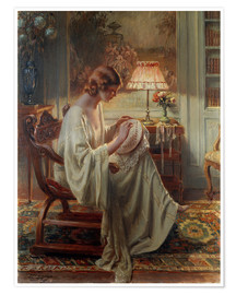 Premium poster A Lady Sewing in an Interior
