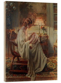 Wood print  A Lady Sewing in an Interior - Delphin Enjolras