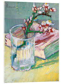 Acrylic glass  Flowering almond branch in a glass with a book - Vincent van Gogh