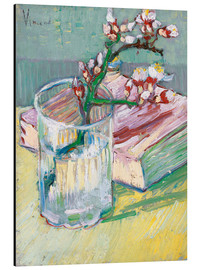 Alu-Dibond  Flowering almond branch in a glass with a book - Vincent van Gogh