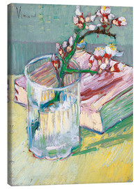 Canvas print  Flowering almond branch in a glass with a book - Vincent van Gogh