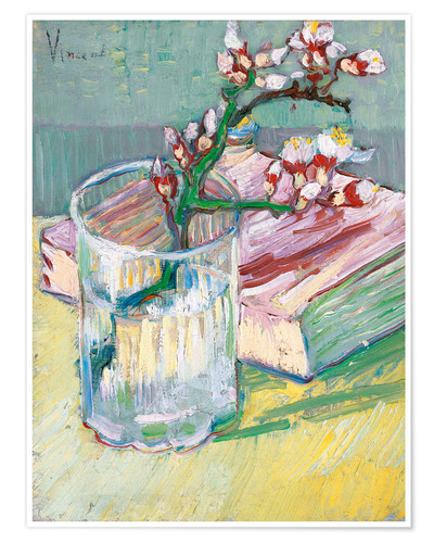Premium poster Flowering almond branch in a glass with a book