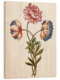 Wood print  Bouquet of Anemones - French School