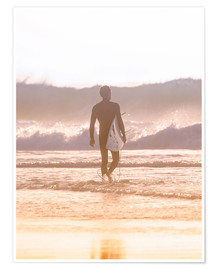 Premium poster Lonely surfer on the beach