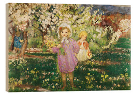 Wood print  Children in an Orchard in Blossom - Henri Lebasque