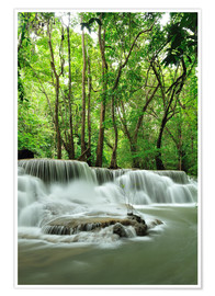 Premium poster Waterfall in forest of Thailand