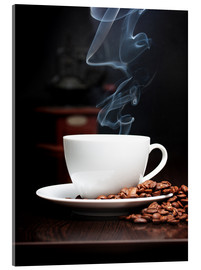 Acrylic print  Steaming coffee cup