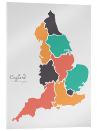 Acrylic print  England map modern abstract with round shapes - Ingo Menhard