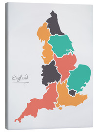 Canvas print  England map modern abstract with round shapes - Ingo Menhard