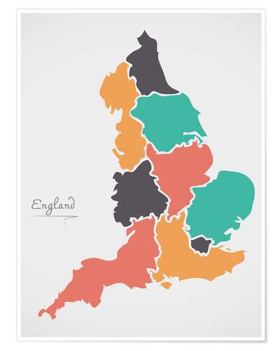 Premium poster England map modern abstract with round shapes