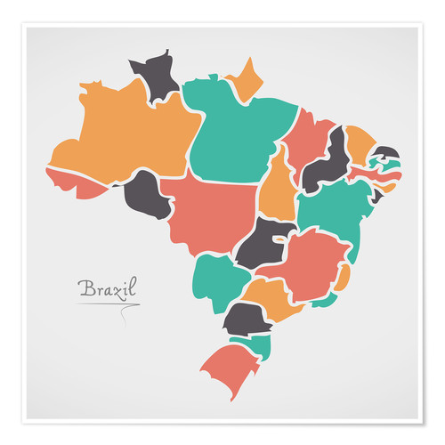 Premium poster Brazil map modern abstract with round shapes