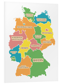 Foam board print  Germany map with labels for learning children - Ingo Menhard