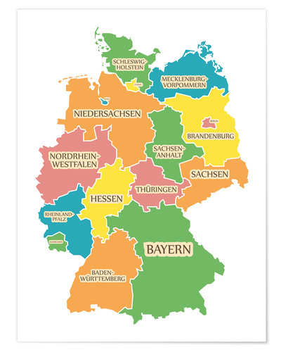 Germany map with labels for learning children Posters and Prints ...