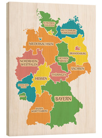 Wood print  Germany map with labels for learning children - Ingo Menhard