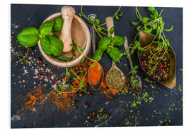 Foam board print  Mortar with herbs and spice