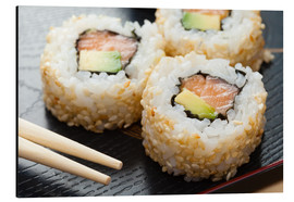 Alu-Dibond  Sushi on wooden plate with chopsticks
